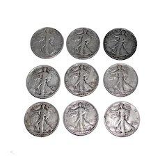 9 Standing Liberty US Silver Half Dollars