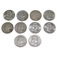 10 Ben Franklin US Silver Half Dollars