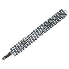 Vintage Flexible Blue Rhinestone Bracelet
