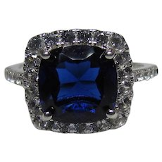 Lots Of Bling Without The Sting - Vintage Sterling Silver, Faux Sapphire & CZ Fashion Ring