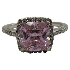 Love Pink!?  Lots of Bling Without The $ting:  Pink Ice CZ & Sterling Halo Ring