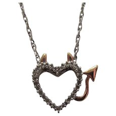 Lots of Bling Without The $ting:  Sterling Devil Heart & CZ Pendant & Rope Chain