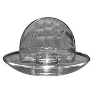 Lalique French Crystal Sailing Ship Ring Dish