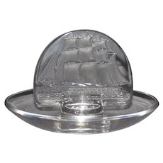 Lalique French Crystal Sailing Ship Ring Dish