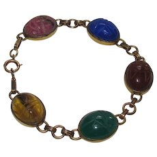 Lots of Bling Without The $ting:  Gold Filled Scarab Bracelet