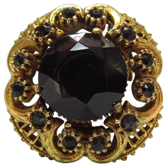 Lots of Bling Without The $ting:  1950s Florenza Gold Tone & Black Glass Mourning Pin