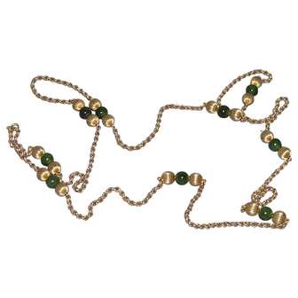 Lots of Bling Without The $ting: Jade & Gold Filled 53 Inch Opera Length Necklace