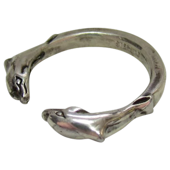 Silver Bling Without The $ting:  Vintage Sterling Dolphin Ring