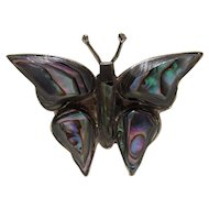 Silver Bling Without The $ting:  Vintage Sterling & Abalone Butterfly Pin Mexico