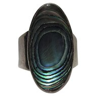 Silver Bling Without The $ting:  Vintage Sterling & Abalone Ring Mexico