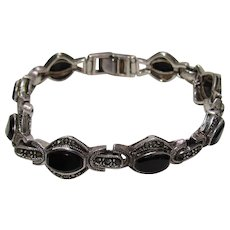 Sterling Bling Without The $ting:  Vintage Sterling, Black Onyx, & Marcasite Bracelet