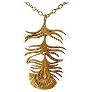 Satin Gold Finish Bronze & Paste Modernist Pendant