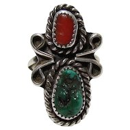 Vintage Navajo Sterling, Turquoise, & Coral Ring