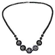 Lots Of Bling Without The $ting:  Hematite & Cats Eye Glass Necklace