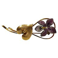 No $ting Estate Bling:  Wells Art Deco Gold Filled Sterling Flower Pin