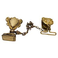 No $ting Estate Bling:  Antique Gold Filled Watch Chain & FOBs