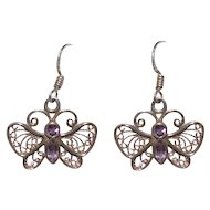 Sterling Bling Without The $ting: Vintage Sterling Silver & Amethyst Earrings