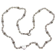 Sterling Bling Without The $ting: Vintage Sterling Silver Pearl Heart Necklace