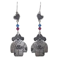 Sterling Bling Without The $ting: Vintage Sterling Silver Love Dogs Earrings