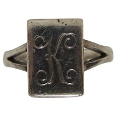 "Sterling Bling Without The $ting: Vintage Initial ""K"" Sterling Silver Ring"