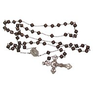 † c1930s Silvered Copper Bead & Sterling Silver Catholic Rosary †