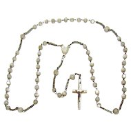 † c1930s French Opalescent Glass Bead & Sterling Silver Catholic Rosary †