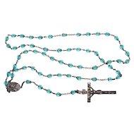 † Art Nouveau Blue Cut Glass Bead & Sterling Silver Catholic Rosary †