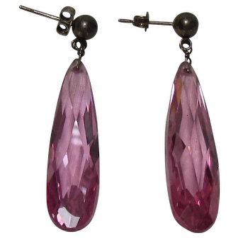 No $ting Sterling: Vintage Sterling Silver & Pink Ice CZ Earrings