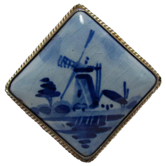 No $ting Sterling: Vintage Sterling & Hand Painted Porcelain Delft Pin