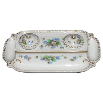 Vintage Rossetti Hand Painted Double Inkwell With Pen Trays