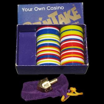 Vintage Dan Kroll Put'nTake Number 1000 Casino Game With Gold Plated Dreidel