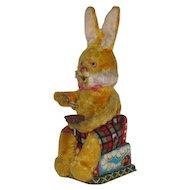 Vintage Wind-Up Chenille & Tin Litho Rabbit Toy Japan
