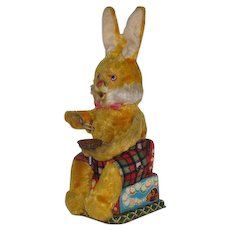 Vintage Wind-Up Chenille & Tin Litho Rabbit Toy Japan