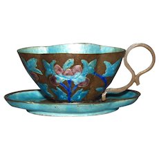 Late Qing Dynasty Enamel On Copper Alloy Cup & Saucer China