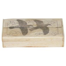 19th Century Bone Scrimshaw Box Carved Extinct Passenger Pigeons