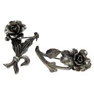 Pair of Vintage Sterling Silver Jewelart Pins