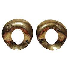 Vintage Sterling Silver Vermeil Earrings With 14K Gold Posts