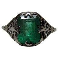 18K White Gold Art Deco 2 CT Columbian Emerald Ring