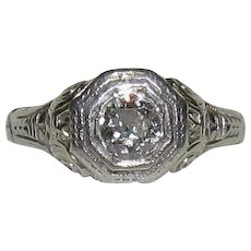 18K White Gold Art Deco 1/3 CT Diamond Ring