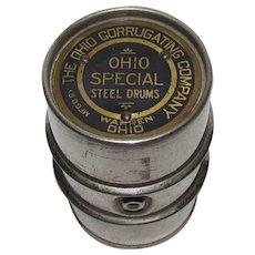Ohio Corrugating Company Advertising Salesman's Sample Drum Paperweight