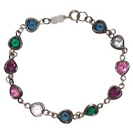 Sterling Bling Without The $ting: Vintage Sterling Silver Crystal Heart Bracelet