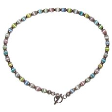 Sterling Bling Without The $ting: Vintage Sterling Silver Cat's Eye Glass Bead Necklace