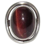 Sterling Bling Without The $ting: Vintage Sterling Silver & Red Tiger Eye Ring