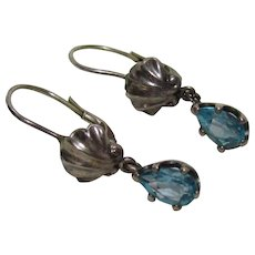 Sterling Bling Without The $ting: Vintage Sterling Silver & Blue Topaz Earrings