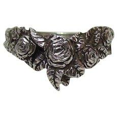 Vintage Sterling Silver Roses Ring