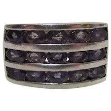 Vintage Sterling Silver & Amethyst Ring