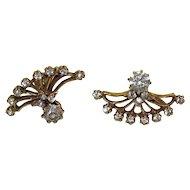 Victorian Bronze Earrings With Brilliant Paste Stones