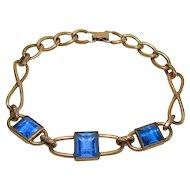 Vintage Simmons Gold Filled Blue Stone Bracelet