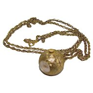 Vintage Gold Filled Chain And Swiss Kelbert 17J Ball Watch Pendant