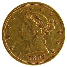 Bring Yourself Joy With This 1893 US $5 Gold Coin: Only 10% Above Spot!